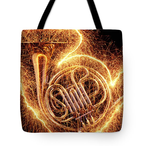 French horn outlined with sparks Tote Bag by Garry Gay