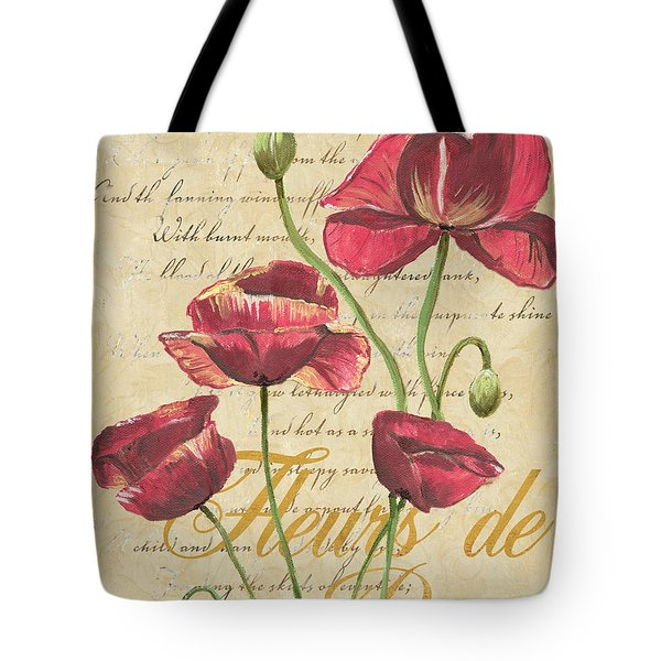 French Pink Poppies Tote Bag by Debbie DeWitt