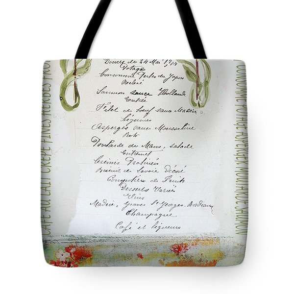 French Vintage Menu Abstract Tote Bag by adSpice Studios