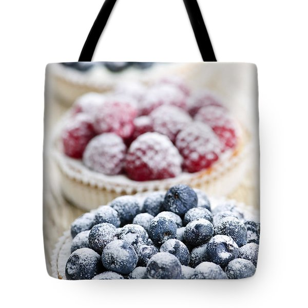 Fresh berry tarts Tote Bag by Elena Elisseeva