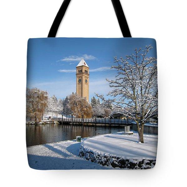 FRESH SNOW in RIVERFRONT PARK - SPOKANE WASHINGTON Tote Bag by Daniel Hagerman