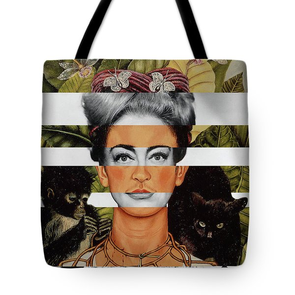 Frida Kahlo And Joan Crawford Tote Bag by Luigi Tarini