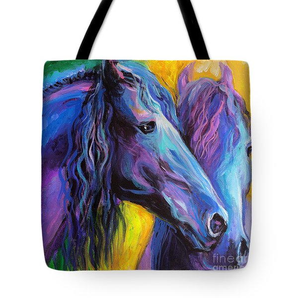 Friesian Horses Painting Tote Bag by Svetlana Novikova