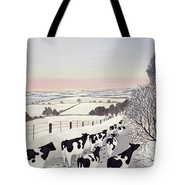 Friesians In Winter Tote Bag by Maggie Rowe