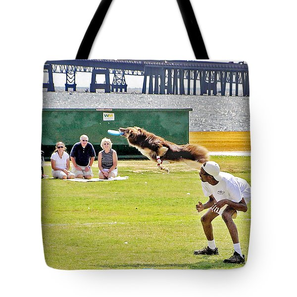 Frisbee Dog Tote Bag by Brian Wallace