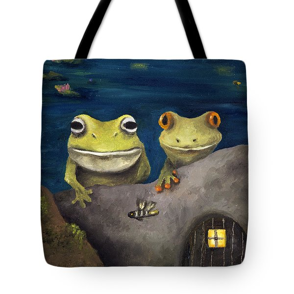 Frogland Detail Tote Bag by Leah Saulnier The Painting Maniac