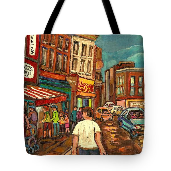 From Schwartz's To Warshaws To The  Main Steakhouse Montreal's Famous Landmarks By Carole Spandau  Tote Bag by Carole Spandau