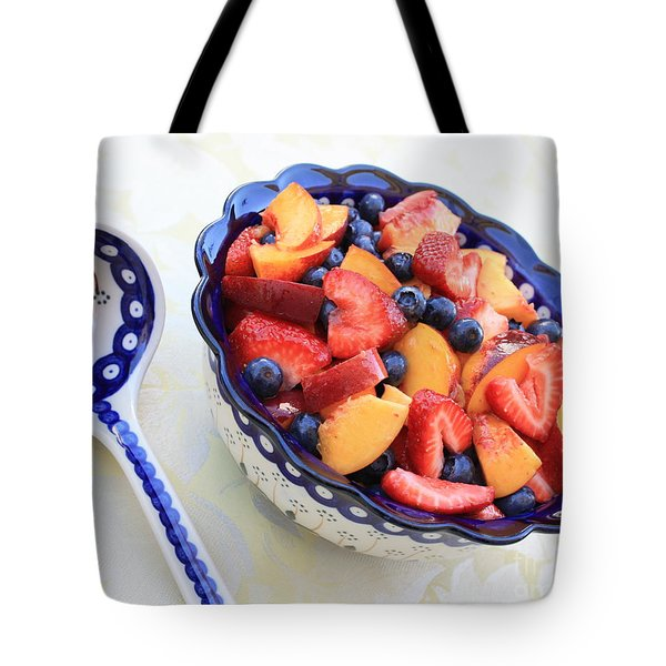 Fruit Salad with Spoon Tote Bag by Carol Groenen