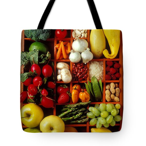 Fruits And Vegetables In Compartments Tote Bag by Garry Gay