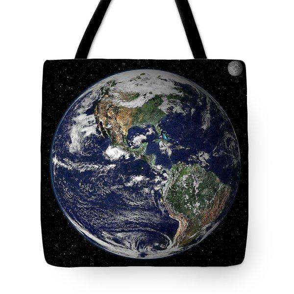 Full Earth Showing North And South Tote Bag by Stocktrek Images