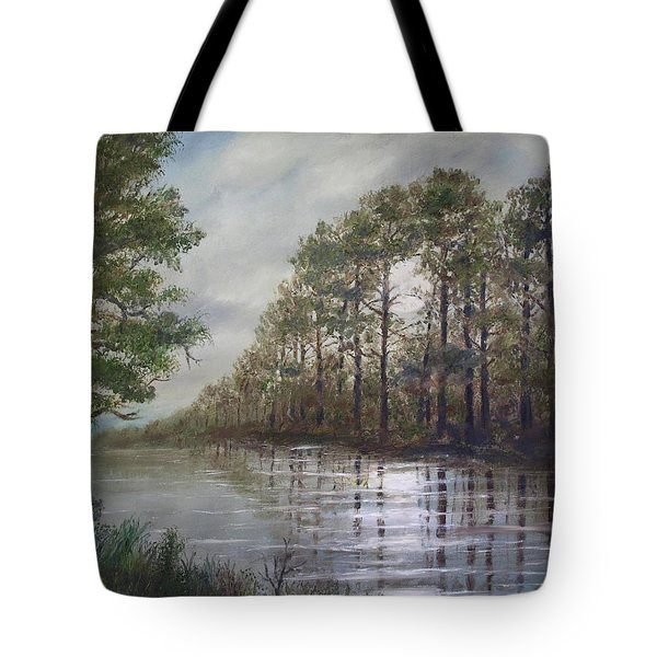 Full Moon on the River Tote Bag by Kathleen McDermott