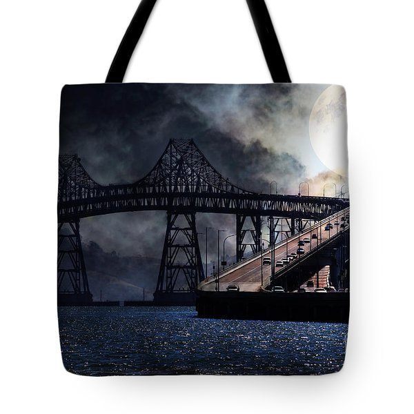 Full Moon Surreal Night At The Bay Area Richmond-San Rafael Bridge - 5D18440 Tote Bag by Wingsdomain Art and Photography