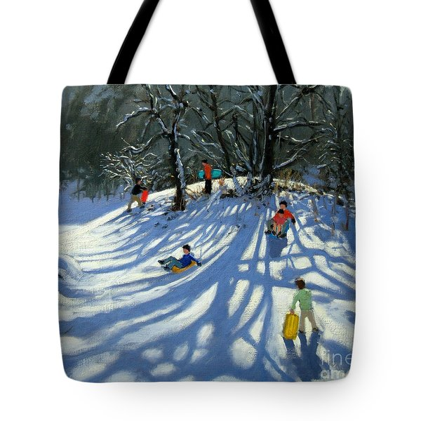 Fun In The Snow Tote Bag by Andrew Macara