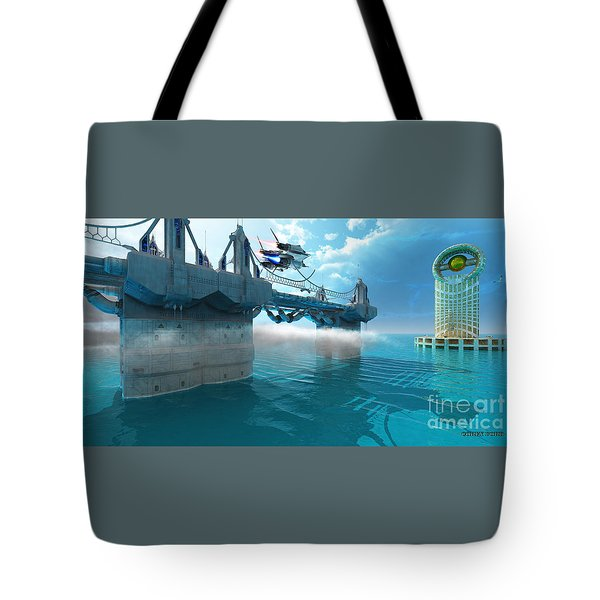 Futuristic Skyway Tote Bag by Corey Ford