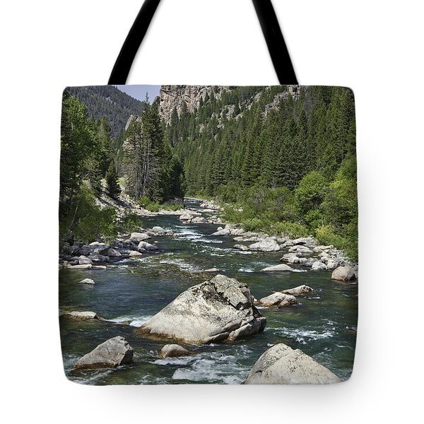 Gallatin River House Rock Tote Bag by Mark Harrington
