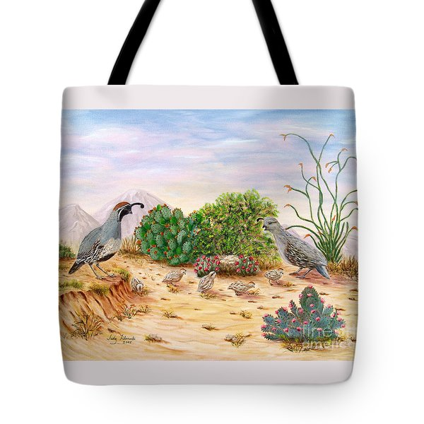 Gambel Quails Day In The Life Tote Bag by Judy Filarecki