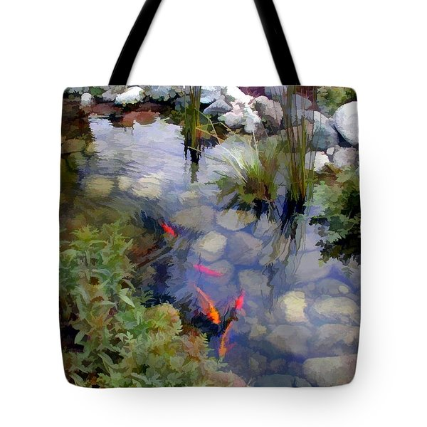 Garden Koi Pond Tote Bag by Elaine Plesser