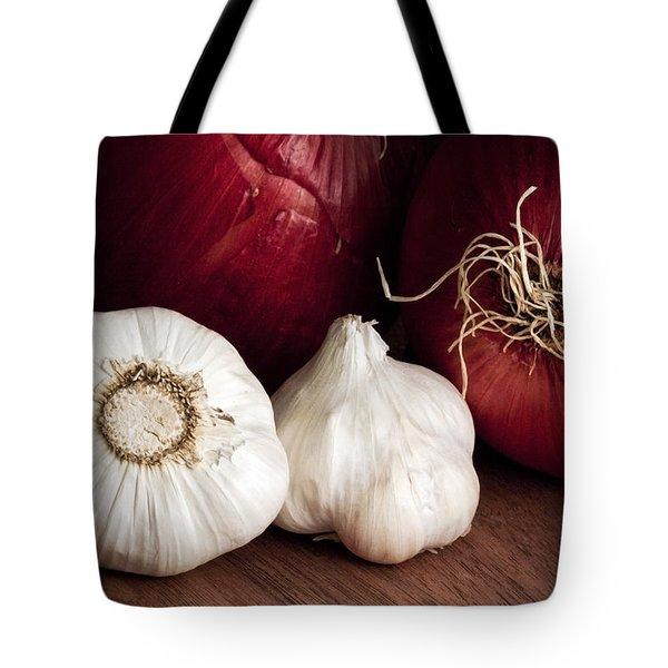 Garlic And Onions Tote Bag by Tom Mc Nemar
