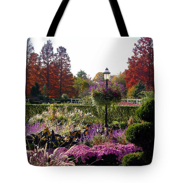 Gas Lamp In Garden Tote Bag by John Lautermilch