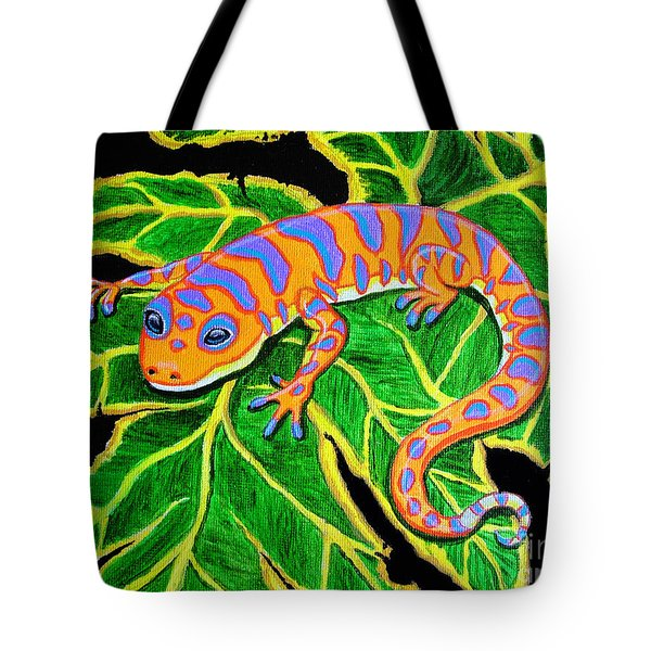 Gecko Hanging On Tote Bag by Nick Gustafson
