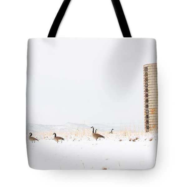 Geese In The Snow With Silo Tote Bag by James BO  Insogna