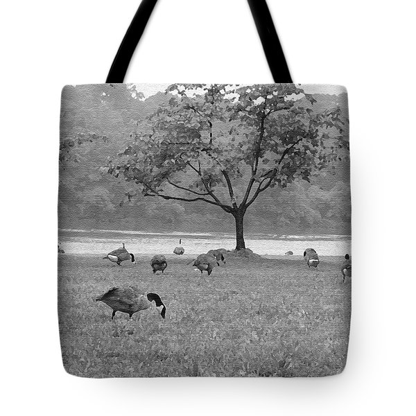 Geese On A Rainy Day Tote Bag by Bill Cannon