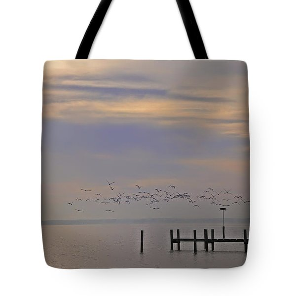 Geese Over The Chesapeake Tote Bag by Bill Cannon