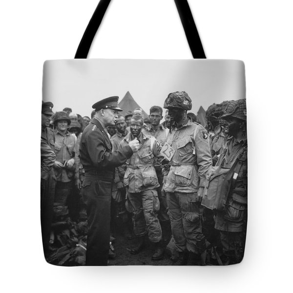 General Eisenhower on D-Day  Tote Bag by War Is Hell Store
