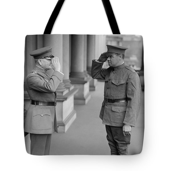 General John Pershing Saluting Babe Ruth Tote Bag by War Is Hell Store