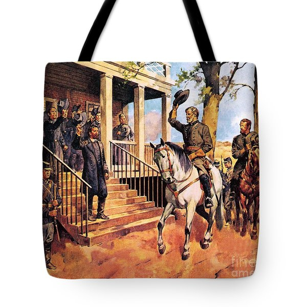 General Lee And His Horse 'traveller' Surrenders To General Grant By Mcconnell Tote Bag by James Edwin