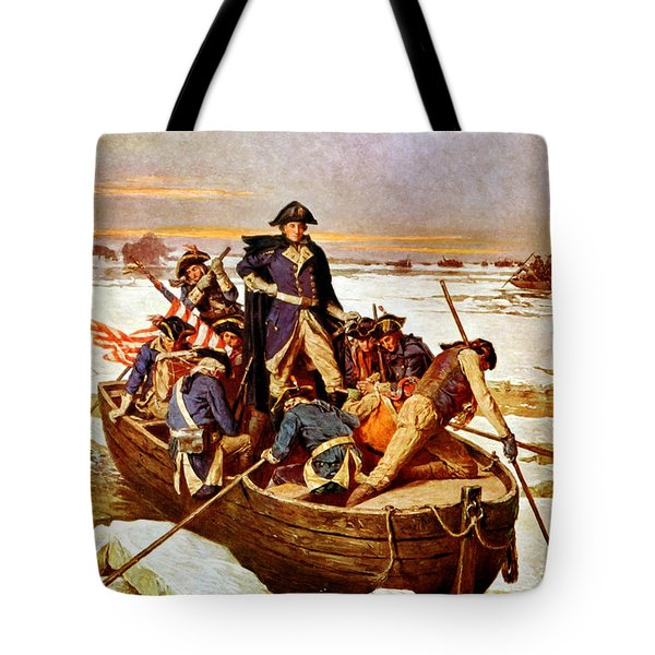 General Washington Crossing The Delaware River Tote Bag by War Is Hell Store