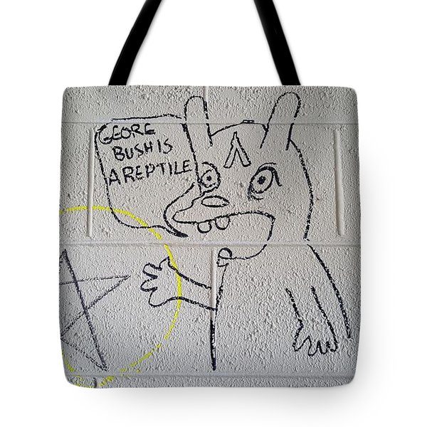 George Bush Is A Reptile Tote Bag by Ben Schumin