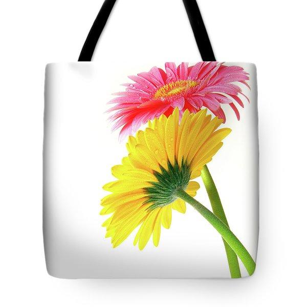 Gerber Flowers Tote Bag by Carlos Caetano