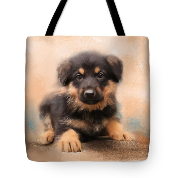 German Shepherd Puppy Portrait Tote Bag by Jai Johnson