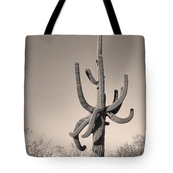 Giant Saguaro Cactus Sepia Image Tote Bag by James BO  Insogna