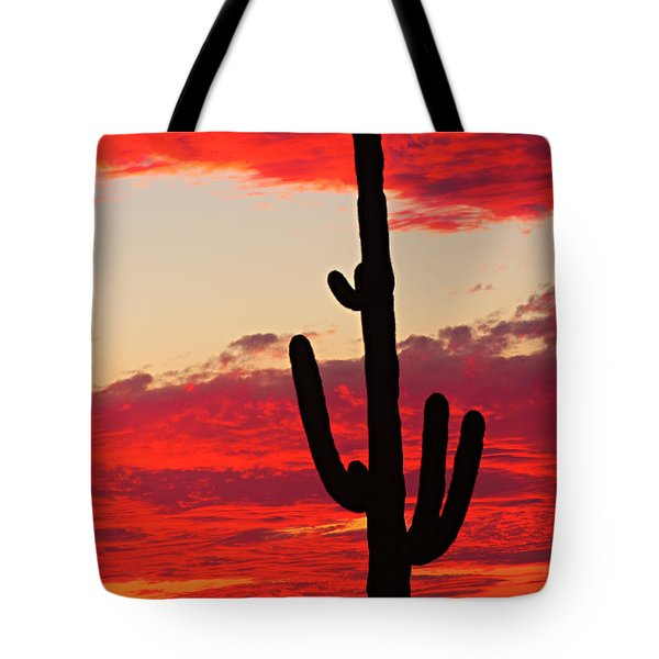 Giant Saguaro  Southwest Desert Sunset Tote Bag by James BO  Insogna