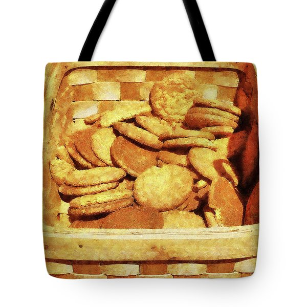 Ginger Snap Cookies In Basket Tote Bag by Susan Savad