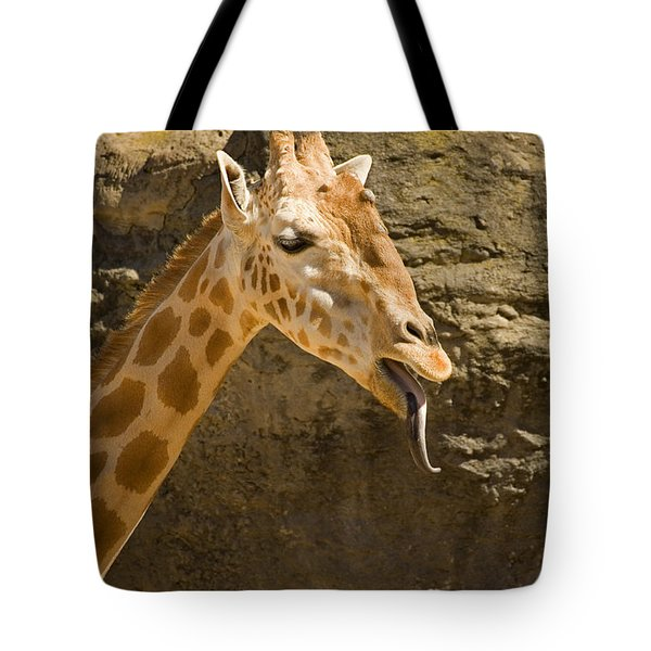 Giraffe Raspberry Tote Bag by Mike  Dawson