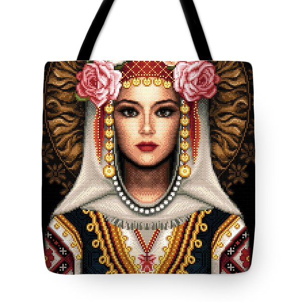 Girl In Bulgarian National Costume Tote Bag by Stoyanka Ivanova