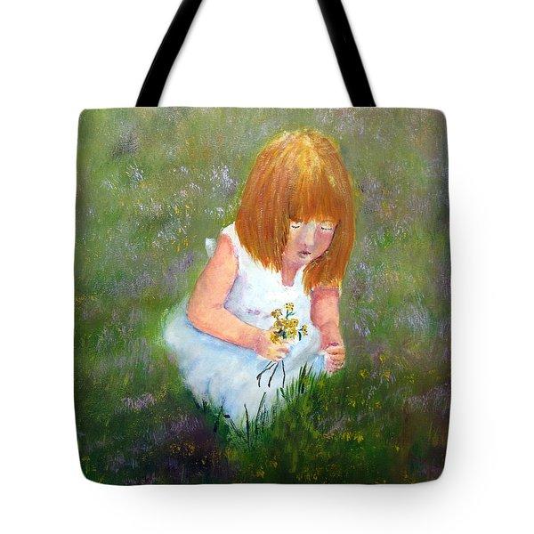 Girl In The Meadow Tote Bag by Loretta Luglio