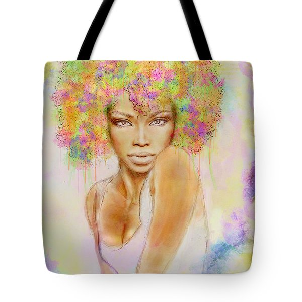 Girl With New Hair Style Tote Bag by Lilia D