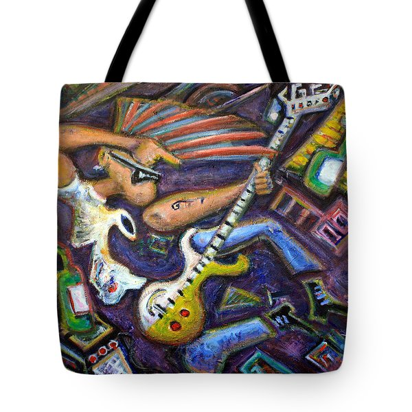 Give Em The Boot - Punk Rock Cubism Tote Bag by Jason Gluskin