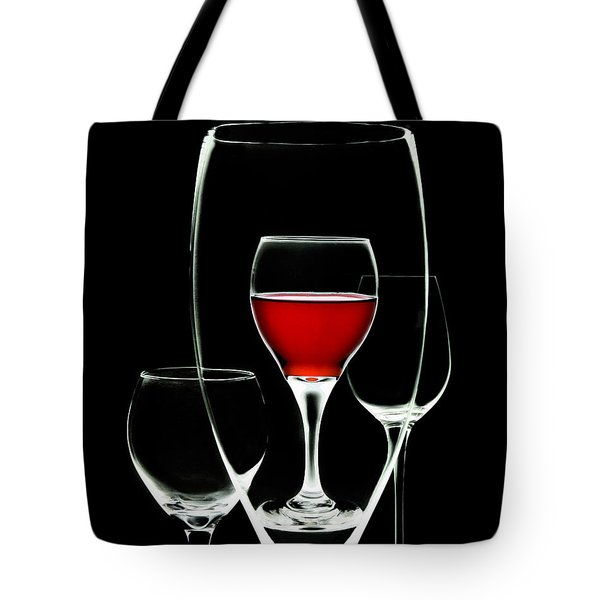 Glass of Wine in Glass Tote Bag by Tom Mc Nemar