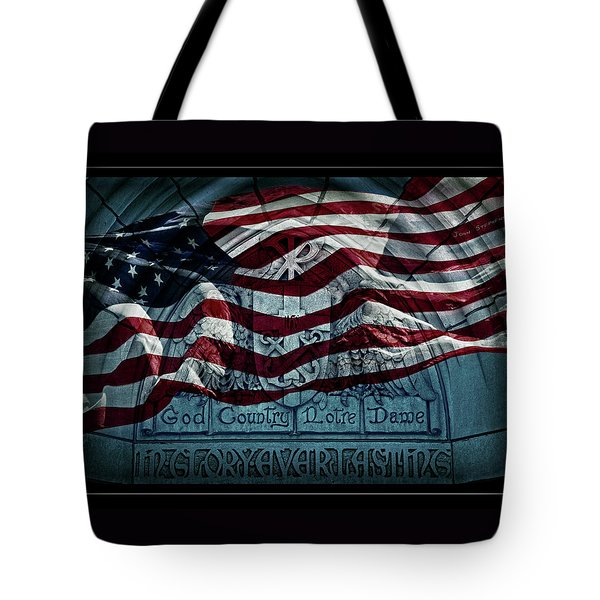 God Country Notre Dame American Flag Tote Bag by John Stephens
