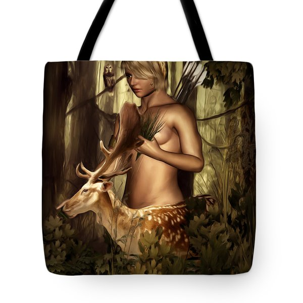 Goddess Artemis Tote Bag by Lourry Legarde