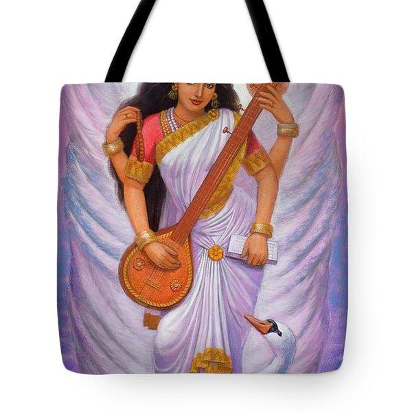 Goddess Saraswati Tote Bag by Sue Halstenberg