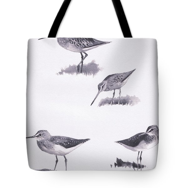 Godwits And Green Sandpipers Tote Bag by Archibald Thorburn