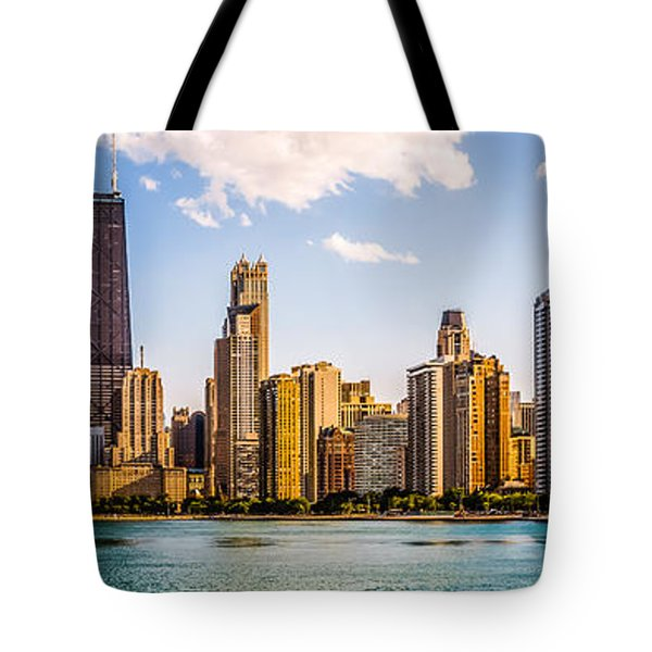 Gold Coast Chicago Skyline Panorama Tote Bag by Paul Velgos