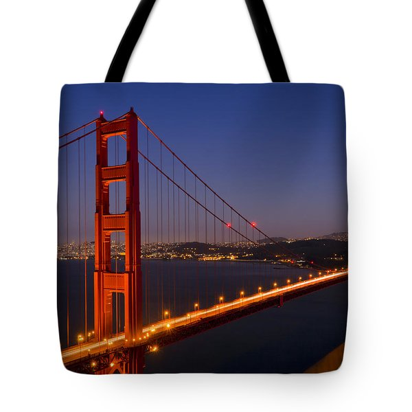 Golden Gate Bridge By Night Tote Bag by Melanie Viola