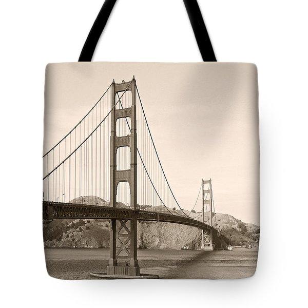 Golden Gate Bridge San Francisco - A thirty-five million dollar steel harp Tote Bag by Christine Till
